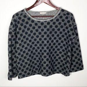 Madewell Gray Tweed Black Polka Dot 3/4 Sleeve S